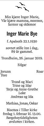 Inger Marie  Bye Dødsannonse