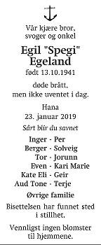 Egil Egeland Dødsannonse