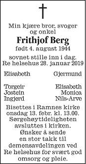 Frithjof Berg Dødsannonse