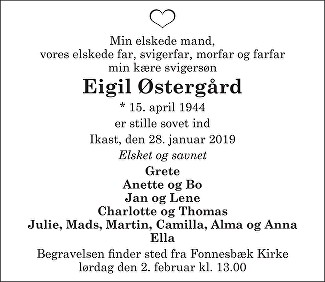 Eigil Østergård Death notice