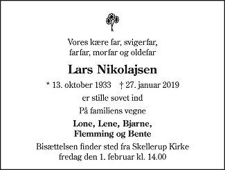 Lars  Nikolajsen Death notice