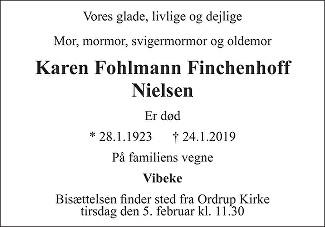 Karen Fohlmann Finchenhoff  Nielsen Death notice