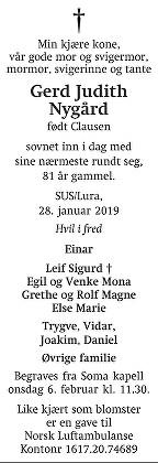 Gerd Judith Nygård Dødsannonse