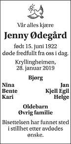 Jenny Ødegård Dødsannonse