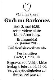 Gudrun Barkenes Dødsannonse