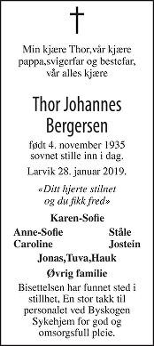 Thor Johannes Bergersen Dødsannonse