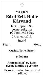 Bård Erik Halle Kårvand Dødsannonse