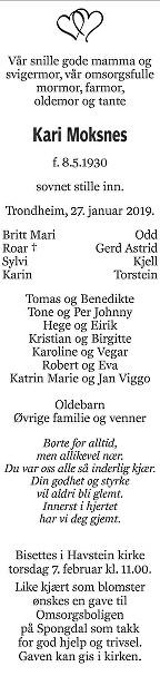 Kari Moksnes Dødsannonse