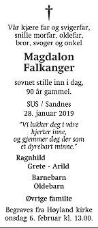 Magdalon Falkanger Dødsannonse