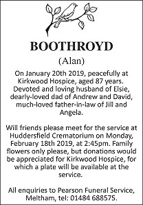 Alan Boothroyd Death notice