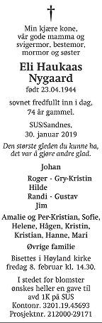 Eli Haukaas Nygaard Dødsannonse