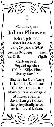 Johan Eliassen Dødsannonse
