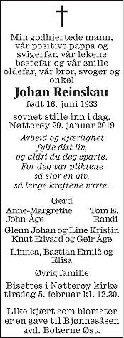 Johan Reinskau Dødsannonse