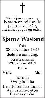 Bjarne Wasland Dødsannonse