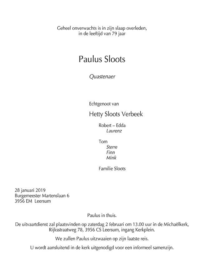 Paulus Sloots Death notice