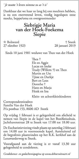 Siepie van der Hoek-Foekema Death notice