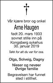 Arne Haugen Dødsannonse