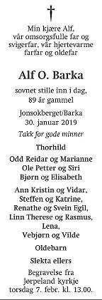 Alf O. Barka Dødsannonse