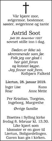 Astrid Soot Dødsannonse