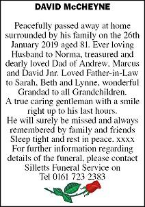 David McCheyne Death notice