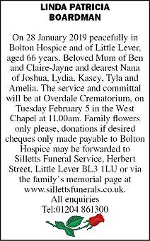 Linda Patricia Boardman Death notice