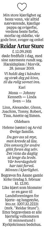 Reidar Artur Sture Dødsannonse