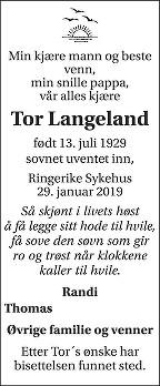 Tor Langeland Dødsannonse