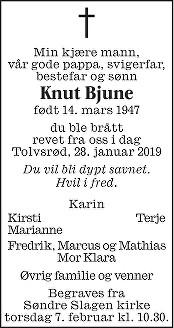 Knut Bjune Dødsannonse