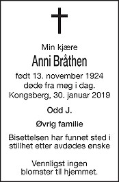 Anni Bråthen Dødsannonse