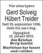 Gerd Solveig Hübert Treider Dødsannonse