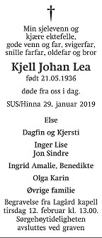 Kjell Johan Lea Dødsannonse