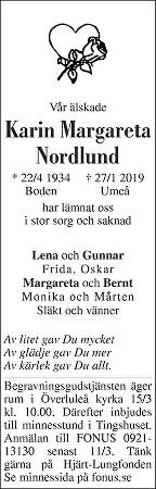 Karin Nordlund Death notice
