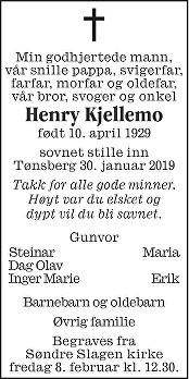 Henry Kjellemo Dødsannonse