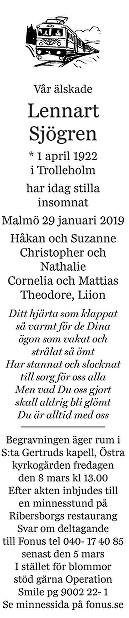 Lennart Sjögren Death notice