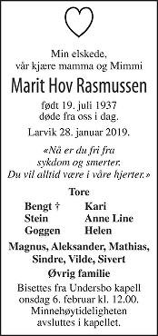 Marit Rasmussen Dødsannonse