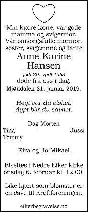Anne Karine Hansen Dødsannonse