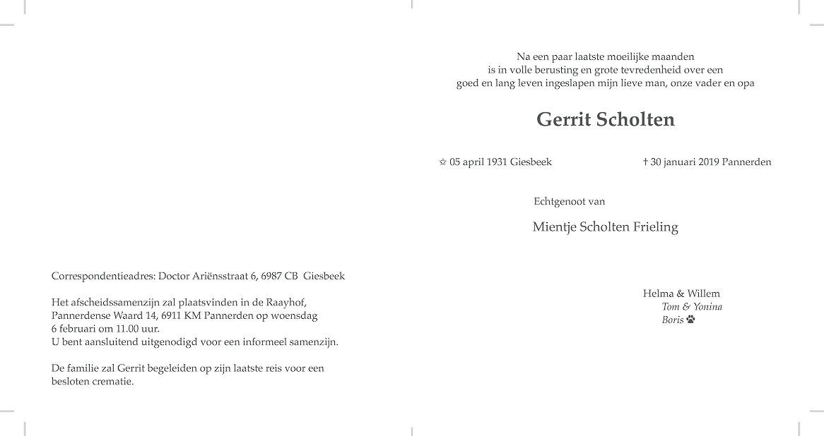 Gerrit Scholten Death notice
