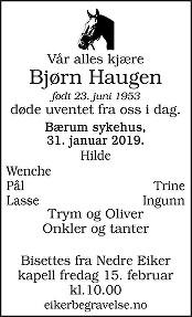 Bjørn Haugen Dødsannonse