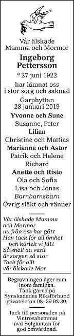 Ingeborg Pettersson Death notice