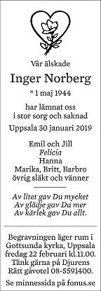 Inger Norberg Death notice