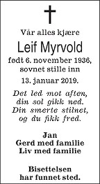 Leif Myrvold Dødsannonse
