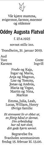 Oddny Augusta Flatval Dødsannonse