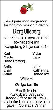 Bjørg  Ulleberg  Dødsannonse