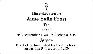 Anne Sofie Frost Death notice