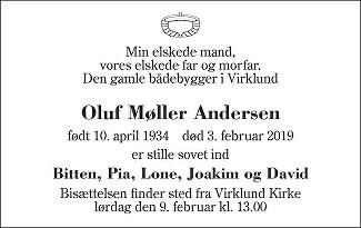 Oluf Møller Andersen Death notice