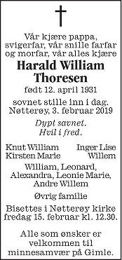 Harald William Thoresen Dødsannonse