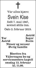Svein Kise Dødsannonse