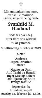 Svanhild Margrete Haaland Dødsannonse