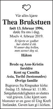 Thea Brukstuen Dødsannonse