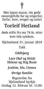 Torleif Hetland Dødsannonse